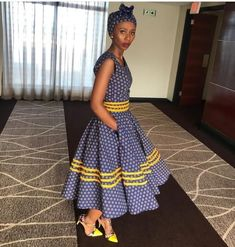 African Shweshwe Styles Trendy for Ladies - Fashion Sotho Traditional Dresses, South African Traditional Dresses, Traditional Wedding Dresses, Traditional Outfits, Traditional Weddings, African Dresses For Women, African Fashion Dresses, African Attire, Xhosa Attire