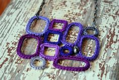purple crochet necklace