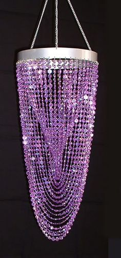 Purple Twisted Chandelier with Diamond-Cut Acrylic Crystal Beads