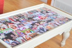 Photo collage coffee table. I saw the table in P.S. I Love You covered in their black and white photos and I've wanted one ever since.