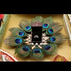 Want a low budget ring platter decor ? Take a tray, put your rings on it and add some pearls attached with Desi Wedding Decor, Indian Wedding Decorations, Wedding Crafts, Wedding Ideas, Indian Wedding Gifts, Wedding Signs, Wedding Pictures, Wedding Colors, Wedding Flowers