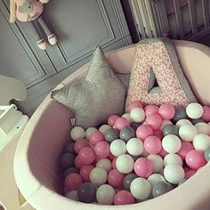 Bällebad - ball pit - rund - rosa - Misioo - inkl 200 bälle