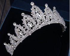 Royal Blue Crystal CrownSilver Weeding CrownBlue Crystal Bridal CrownRhinestone Photo Shoot CrownBeautiful Birthday Party Crown
