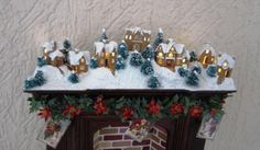 Dollhouse Christmas Gingerbread Village scene created by Cecilia Colo using Karin Corbin's Micro Tiny Village 2013 Gingerbread kit.
