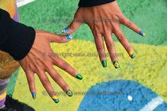 Una tifosa con le unghie dipinte con i colori del Brasile San Paolo 11/06/2014 Tifosi e bandiere invadono la citta'. Photo Panor...