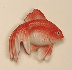 Old Magnificent Medium Signed Realistic Arita Porcelain Goldfish Button