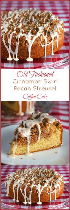 Pecan Streusel Coffee Cake - an old fashioned recipe for cinnamon swirl coffee cake topped with a pecan crumble topping & drizzled in a sweet vanilla glaze.