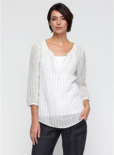 Plus Size Wide Neck Box-Top in Linen Gauze Windowpane