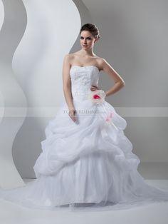 Pier - corte evasé escote corazón vestido de novia de satén con apliques
