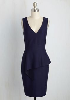 Perky Presentation Dress. Youre so excited to give your speech today, and luckily, youre armed with tons of research and the confidence inspired by this navy blue dress. #blue #modcloth