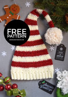 Pixie Elf Striped Newborn Hat Crochet Pattern