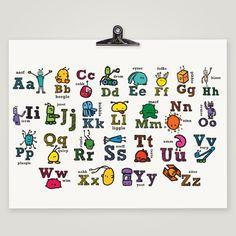 "Monsterbot Alphabet - Monster Robot Alphabet Print POSTER - 19""x13"" Poster - Science Kids Nursery Art Print - Modern Nursery Decor Print. $34.99, via Etsy."
