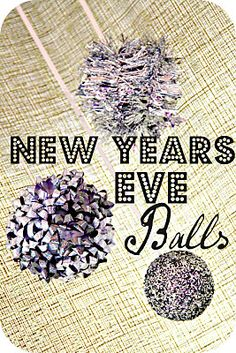 Fun party decor made from styrofoam balls, glitter, tinsel and gift bows!