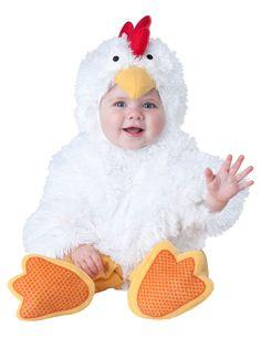Disfraz de gallina para bebé - Lujo: Este disfraz de pollo para bebé incluye traje, capucha y zapatos.El traje es blanco de tejido suave. Se cierra con cremallera en la espalda y botones en la entrepierna.La capucha es blanca y...