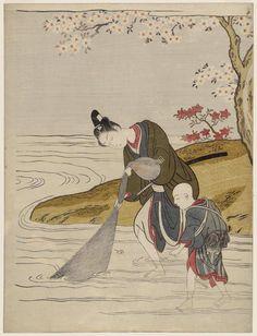 若衆の網打ち Young Man Hauling in a Fishing Net