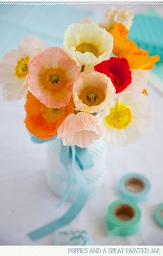 Ivory red and orange poppies set in blue glass vase / such a lovely happy floral bouquet My Flower, Beautiful Flowers, Flower Colors, Poppy Bouquet, Lavender Green, Color Inspiration, Wedding Inspiration, Floral Arrangements, Flower Arrangement