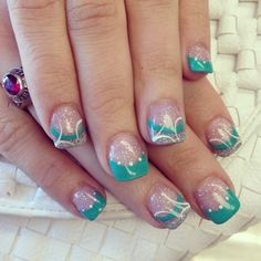 Vacation bound teal nails