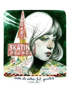 Els Patinadors, de Paula Bonet Paula Bonet, Pencil Shavings, Art World, Illustration Art, Illustrations, Primitive, Cool Art, Sketches, Colours