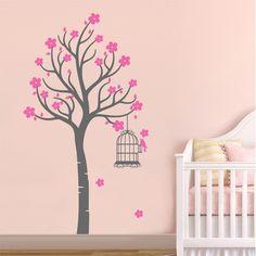 Αυτοκόλλητο τοίχου Δέντρο με κλουβάκι