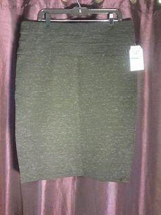 Womens Fittted Pencil Skirt Knee Length Gray Slimming Waist NWT (1027) #Jolt #StraightPencil