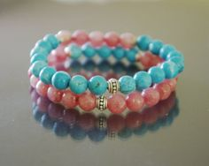 Coral Turquoise bracelet Set of 2 with sterling by EmpathyGifts, €31.90