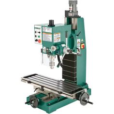 Provide an essential and ultimate addition to your industrial application with the help of this Grizzly Industrial Heavy-Duty Benchtop Milling Machine. Benchtop Milling Machine, Hand Tools Names, Head Angles, Tilt Angle, Speed Drills, Key Storage, Square Columns, Safety Switch, Adjustable Table