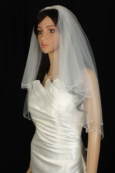 Bridal Veil Diamond (Off) White 2 Tiers Elbow Length Scallop Crystal Teardrop ** Check out the image by visiting the link.