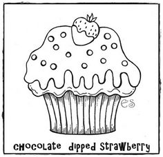 Chocolate Dipped Strawberry Cupcake   Embroidery Pattern   Coloring Page  Www.tootsiegrace.blogspot.