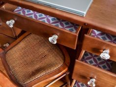 I think I'm going to try this... Dress Up Your Dresser Drawers - DIY Wallpaper Projects to Dress Up Your Home on HGTV
