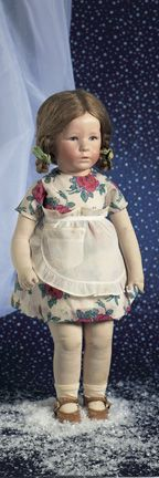 My doll sadly sold at auction..Kathe Kruse, a letter from the Kruse factory identifies the doll as Ilsebild, with the name of Leila, made in 1929. VALUE POINTS: All original doll wears floral printed dress, undergarments, apron, shoes, and socks.