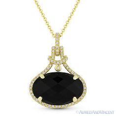 The featured pendant is cast in 14k yellow gold and showcases a finely crafted halo setting set with a checkerboard oval cut black onyx center stone accentuated by round brilliant cut diamonds around the onyx and all the way up the bale.