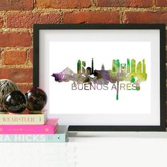 Buenos Aires Skyline Watercolor Art Print  A beautiful Watercolor Art print of Buenos Aires, Argentina. Perfect for an office or a gift to one