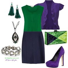 Emerald Green and Navy dress