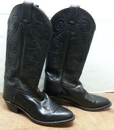 """Tony Lama 6.5 B Western Cowboy Distressed Leather Black 14"""" Leather Boots  #TonyLama #CowboyWestern #Casual"""