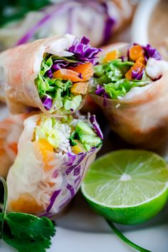Easy, healthy, and gluten-free brown rice shrimp summer rolls with peanut lime dipping sauce. Perfect for spring and summer!