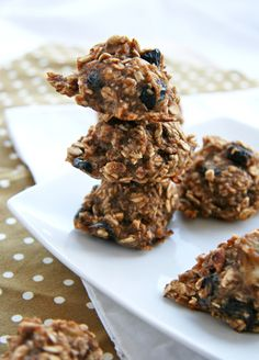 Healthy trail mix cookies (uses applesauce and almond milk and a little stevia.  I would use dates and leave out the coconut)