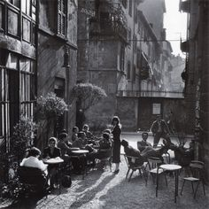 Hemingway's The Sun Also Rises comes to mind when I look at this photograph- Ugo Mulas, Bar Giamaica, Milano, 1953-54