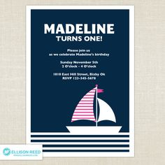 Nautical Invitation - Girl Birthday Invitation - Printable - Baby Shower - Sail Boat Invitation - First birthday - 1st, 2nd, 3rd birthday