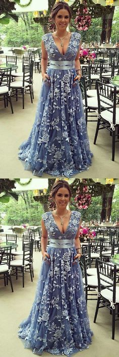 A-Line Deep V-Neck Sweep Train Blue Lace Prom Dress with Belt #prom #dresses #longpromdress #promdress #eveningdress #promdresses #partydresses #2018promdresses #lacepromdresses