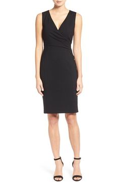 Halogen® Faux Wrap Ponte Sheath Dress (Regular & Petite) available at #Nordstrom