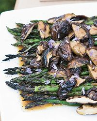 Asparagus and Grilled Shiitake with Soy Vinaigrette | This early-summer side dish is based on a recipe from Jean-Georges Vongerichten's New York restaurant Perry Street, where the cooks top it with a runny poached egg.