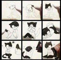 Chibi neko Levi from Attack on Titan Anime Neko, Manga Kawaii, Fanarts Anime, Manga Anime, Anime Art, Levi Anime, Levi Ackerman, Ereri, Attack On Titan Funny