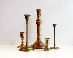 Brass Candlestick Holders  Set of 5 Gold Vintage by CurrentClassic