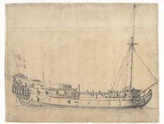 De Loyal George, opgebracht na de Vierdaagse Zeeslag in Juni 1666, Willem van de Velde (II), 1666