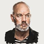Painting #6 Michael Stipe, playing with palette knife for rougher look.