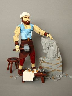 We can't help but wonder if this LEGO sculptor by Gabriel Thomson might have an easier time with a brick separator. Lego People, Lego Mecha, Lego Figures, Cool Lego Creations, Lego Worlds, Lego News, Lego Models, Lego Projects, Lego Instructions