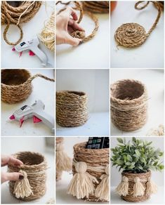 Creative DIY craft ideas with natural cord that refine every interior! - DIY A . - Creative DIY craft ideas with natural cord that refine every interior! – DIY storage basket do it - Rope Crafts, Diy Home Crafts, Home Craft Ideas, Twine Crafts, Adult Crafts, Craft Ideas For Adults, Etsy Crafts, Garden Crafts, Garden Projects