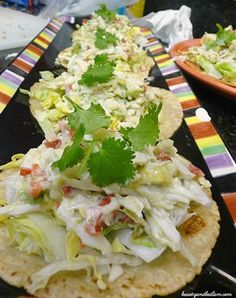 Perfect light summer meal and So incredibly delicious. Crabmeat Salad on Tostadas! Fish Recipes, Seafood Recipes, Mexican Food Recipes, Salad Recipes, Cooking Recipes, Seafood Dishes, Fish And Seafood, Fish Dishes, Healthy Snacks