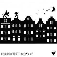 Raamsticker XL Sinterklaas Silhouet - Grachtenhuisjes - Lovely Sweet