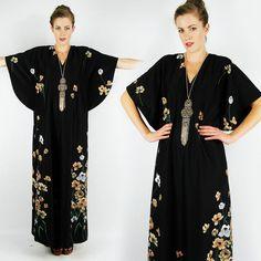 vtg 70s boho hippie FLORAL draped KIMONO BELL ANGEL slv CAFTAN maxi dress S/M/L $98.00
